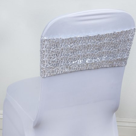 BalsaCircle 5 Spandex Sequined Chair Sashes Bows Ties - Wedding Party Ceremony Reception Event Decorations Unique Supplies - Wedding Ceremony Decor