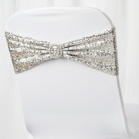 BalsaCircle 5 Spandex Sequined Chair Sashes Bows Ties - Wedding Party Ceremony Reception Event Decorations Unique Supplies](Wedding Reception Decoration)