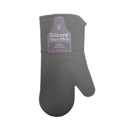 Sultan Linens Silicone Oven Mitt with Cotton Filling, Grey