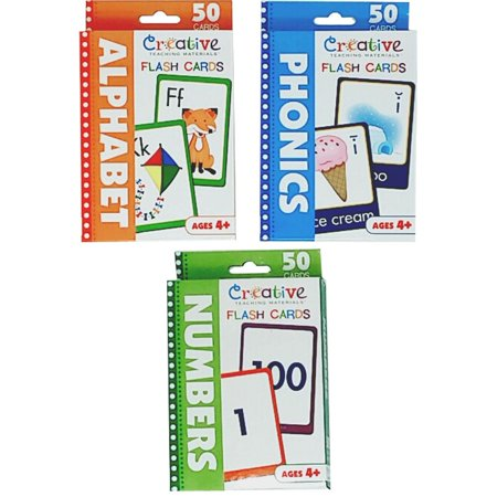 Creative Teaching Materials Set of 3 Flash Cards: Numbers, Alphabet and Phonics Flash Cards with Orange Letters zip bag for easy carrying and (Alphabet Letter Cards)