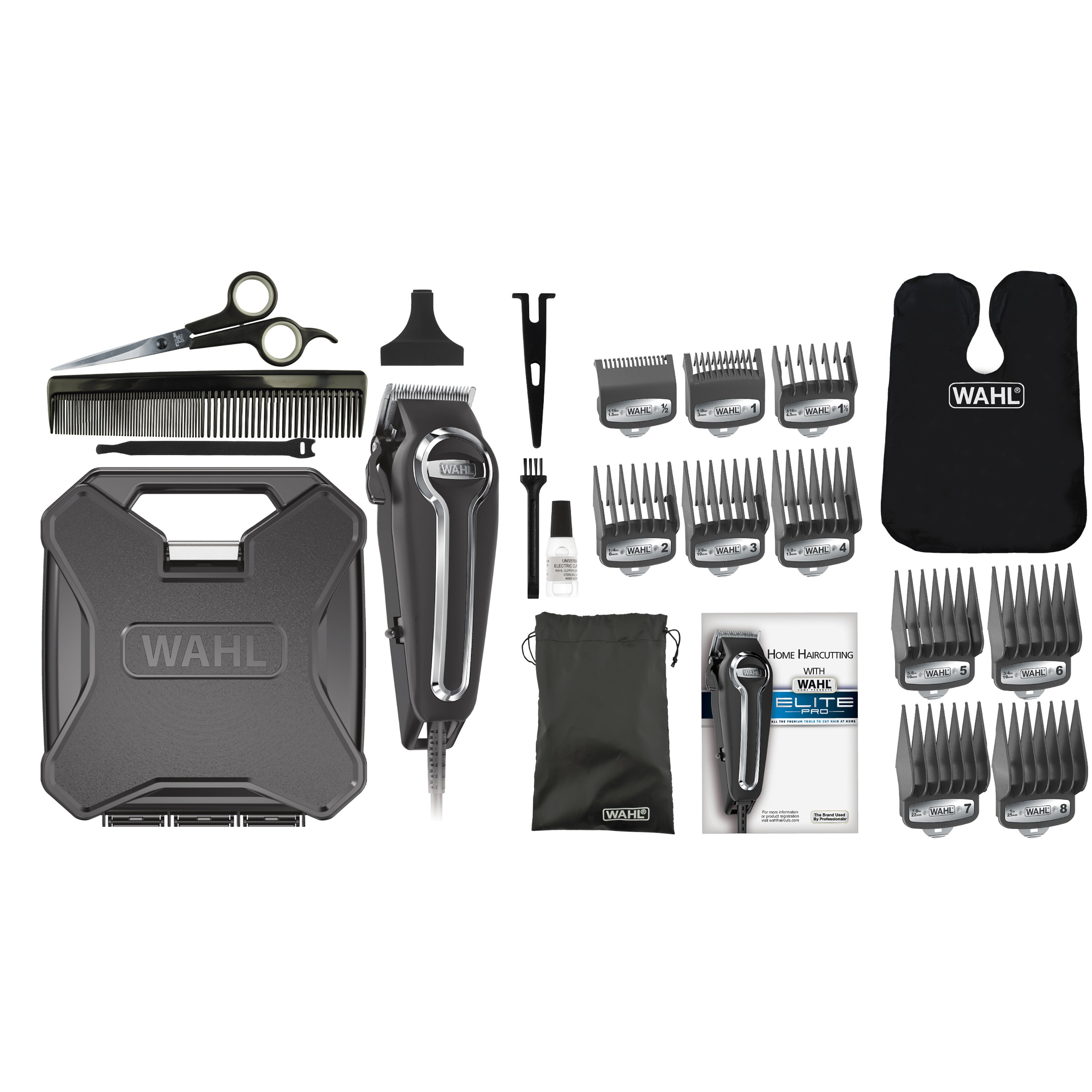 Wahl Elite Pro Complete High Performance Hair Clippers Haircut Kit, Black/Chrome 21 pieces Model 79602