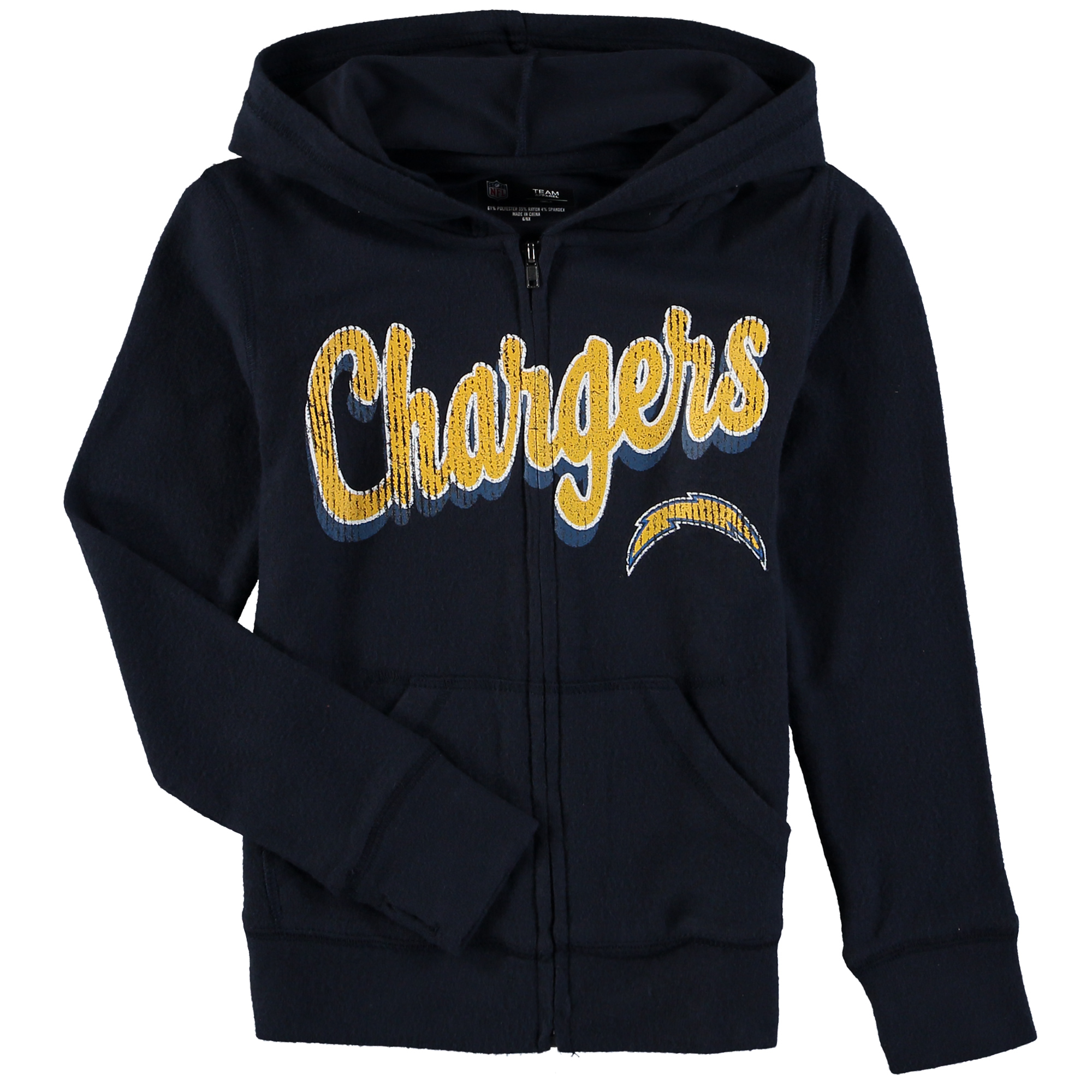 Los Angeles Chargers 5th & Ocean by New Era Girls Youth Brushed Knit Tri-Blend Full-Zip Hoodie - Navy
