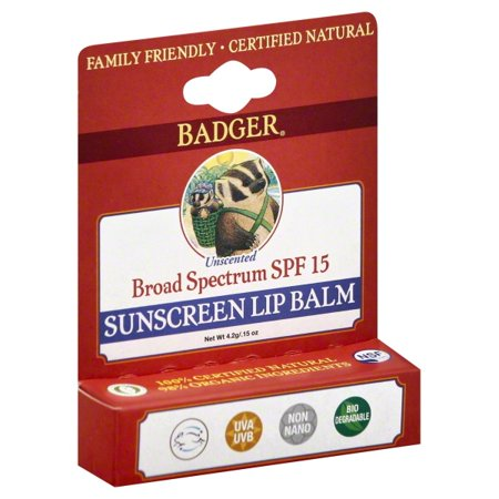 Badger Soothing Balms (Badger - Sunblock Lip Balm Water Resistant 15 SPF - 0.15 oz. )