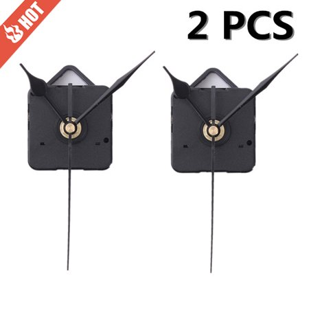2pcs DIY Quartz Clock Spindle Movement Mechanism Repair Parts Kit + Black Hand Home Dedroom Wall Clock US
