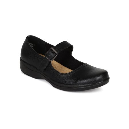 New Women Refresh Jodi-11 Textured PU Mary Jane hook and loop Work Low Heel Loafer Flat - Heel Mary Janes