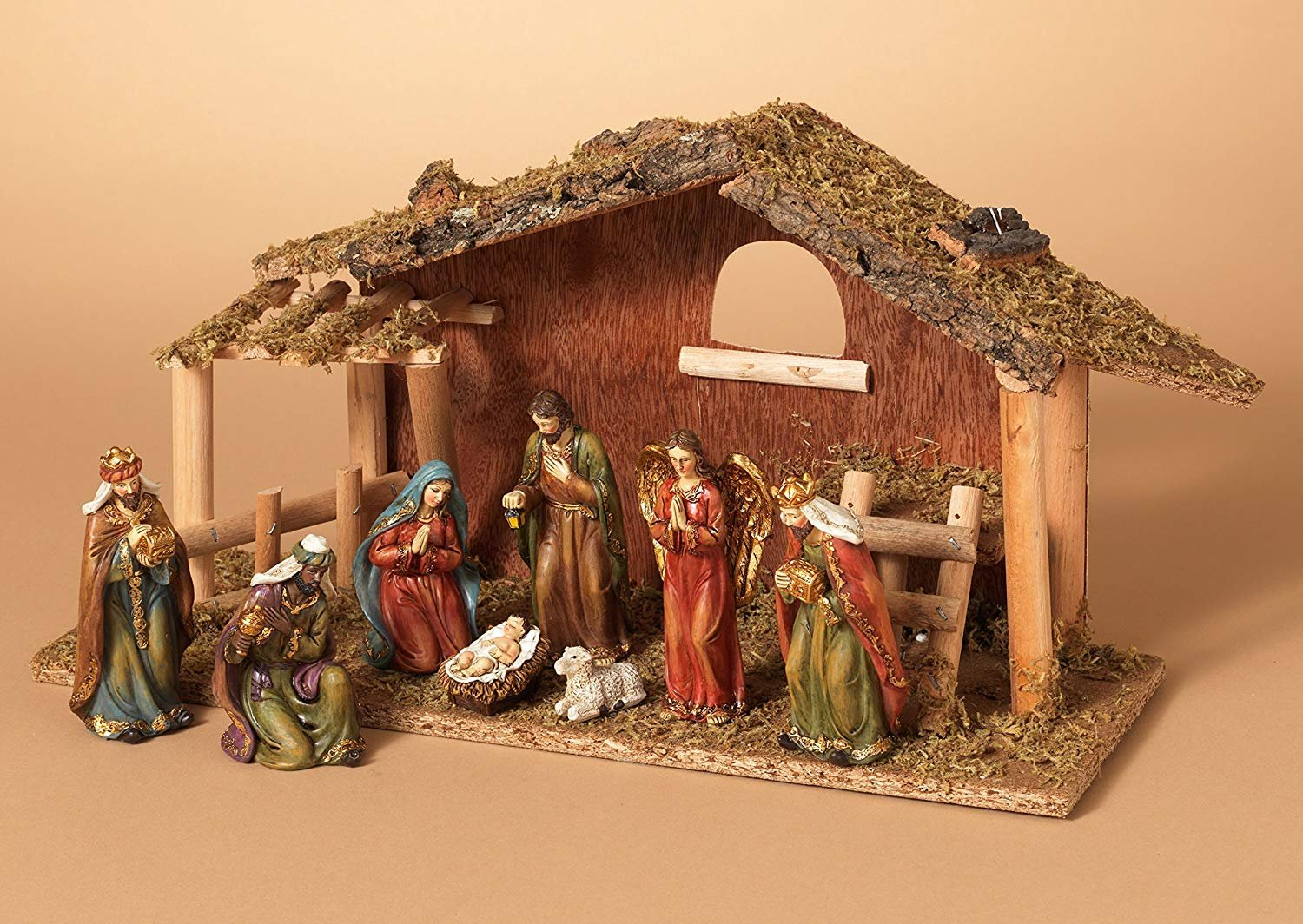 Christmas Nativity 12 pc Resin Set with Wood Stable Dollhouse Miniature