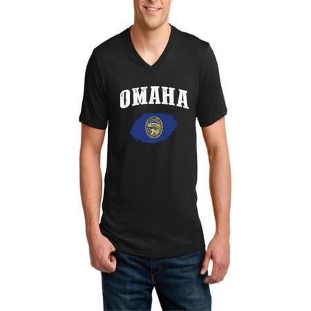 Omaha Nebraska Men's V-Neck Short Sleeve T-Shirt - Jobs In Omaha Nebraska