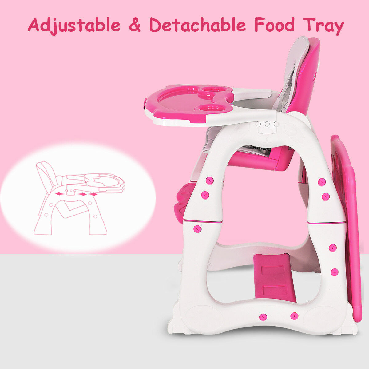 3 in 1 Baby High Chair Convertible Play Table Seat Booster Toddler Feeding Tray - image 1 de 10