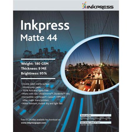 """Duo Matte 44 Inkjet Printer Paper, Double Sided, 180gsm, 9mil, 95% Bright, 13x19"""", 50 Sheets"""