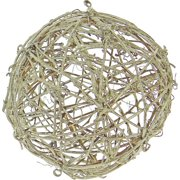 """Northlight 5"""" Glittered Platinum Twig Weave Orb Christmas Ornament - Brown"""
