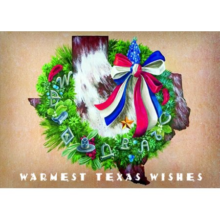 Texas Christmas Cards.Lpg Greetings Texas Wreath Greetings Skeeter Leard Box Of 18 Christmas Cards