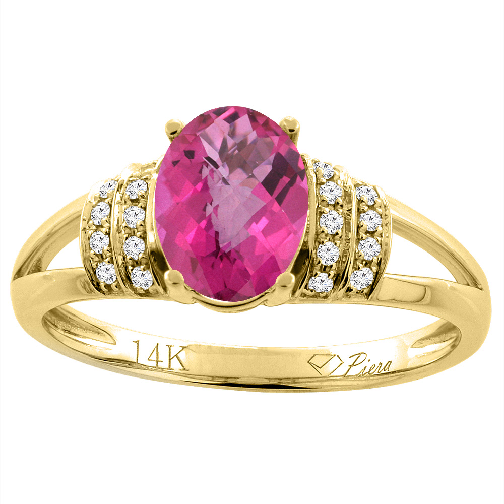 14K Yellow Gold Natural Pink Sapphire Ring Oval 8x6 mm Diamond Accents, size 6 by Gabriella Gold