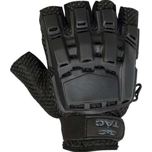 Valken Half Finger Plastic Back Paintball or Airsoft Gloves - Black - XS/S
