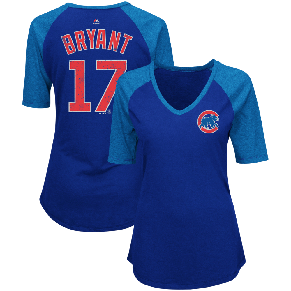 Kris Bryant Chicago Cubs Women's Majestic On-Field Victory Player Name & Number V-Neck Half-Sleeve T-Shirt - Royal