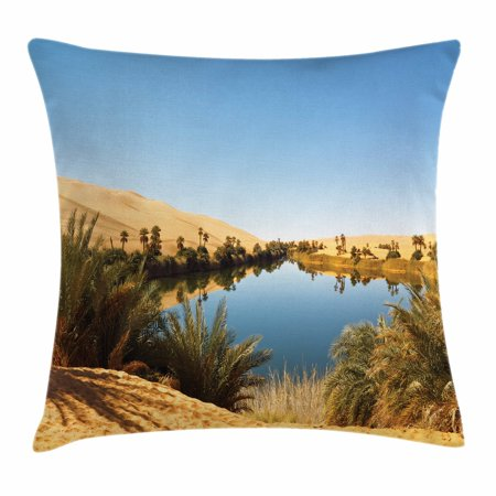 Desert Throw Pillow Cushion Cover  Idyllic Oasis Awbari Sand Sea Sahara Libya Pond Lush Arid Country  Decorative Square Accent Pillow Case  18 X 18 Inches  Pale Blue Green Sand Brown  By Ambesonne