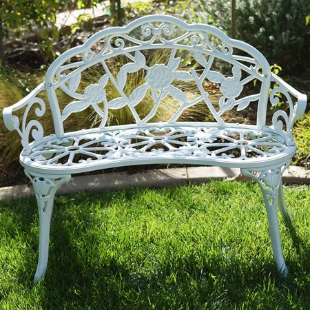 Belleze Rose Iron Garden Bench ()