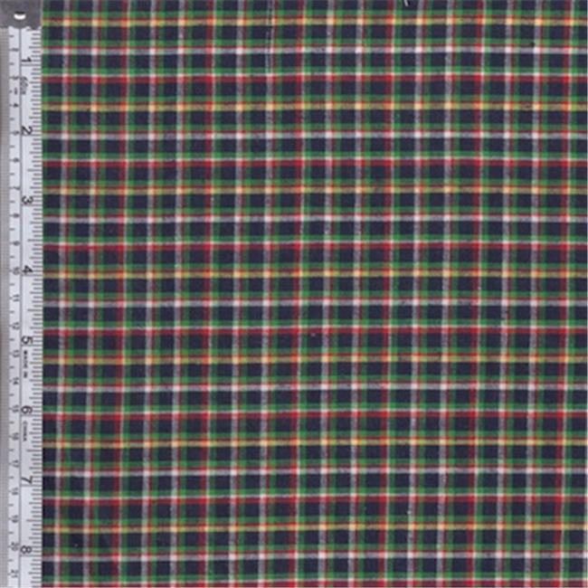 Textile Creations RW0131 Rustic Woven Fabric, Plaid Navy, Green And Yellow, 15 yd.
