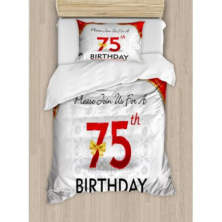 Ambesonne 75th Birthday Decorations Royal Display Birthday Party Floral Invitation Ceremony Bow Duvet Cover Set - 75th Birthday Invitations