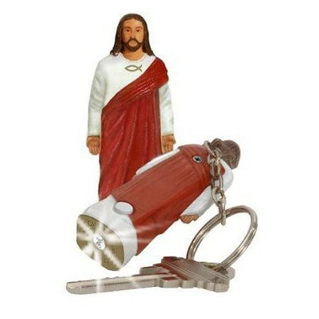 Jesus Christ Figure Flashlight Keychain Religious Ichthys (Jesus Fish Keychain)