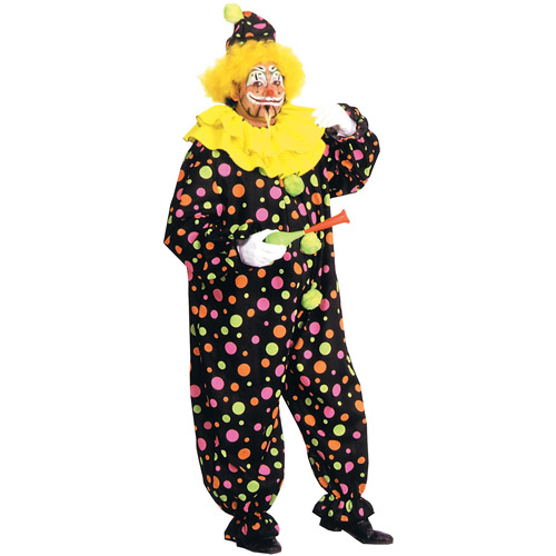 Neon Dotted Clown Adult Halloween Costume - One Size