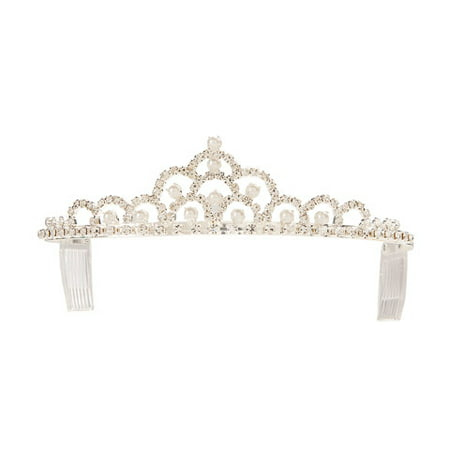 Silver Tiara with Rhinestone and Pearl Accents (Pearl Tiara)