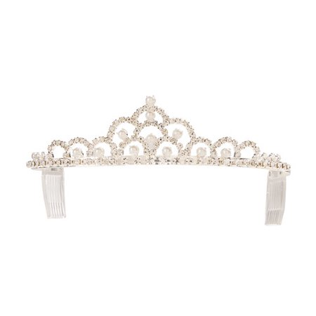 Pearl Tiara (Silver Tiara with Rhinestone and Pearl)