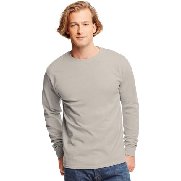 TAGLESS Men`s Long-Sleeve T-Shirt - Best-Seller, 5586, XL, Sand