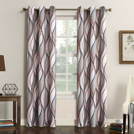 Intersect Wave Print Casual Textured Grommet Curtain Panel Nickel 48u0022x95u0022 - No. 918