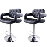 Zimtown Modern Adjustable Bar Stools Rhombus Backrest Design Set of 2 Black