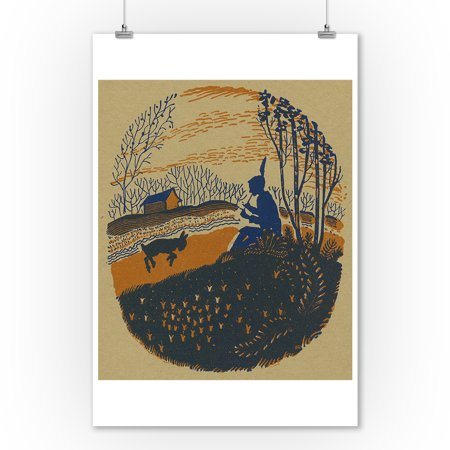 Shepherd Lamb - Nature Magazine - Pastoral Scene of a Shepherd Playing on Flute with a Lamb Close by (9x12 Art Print, Wall Decor Travel Poster)