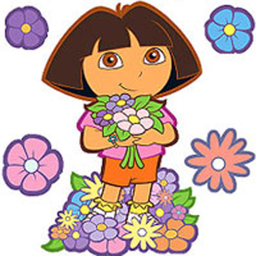 Blue Mountain Wallcoverings 12440346 Dora Best Friends 6 Large Wall Accent Murals-stickers