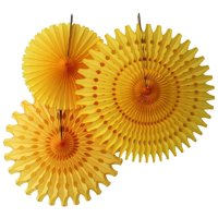 Hanging Gold Tissue Fan Decorations, Set of 3 (21 inch, 18 inch, 13 inch) by Devra Party
