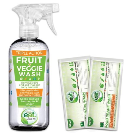 Eat Cleaner Fruit and Vegetable Wash Bundle Includes One 12 Oz Spray Veggie Wash and Two Powder Packs That Wash Up to 60lbs of Produce, Removes Harmful Residue Water Canâ??t, -