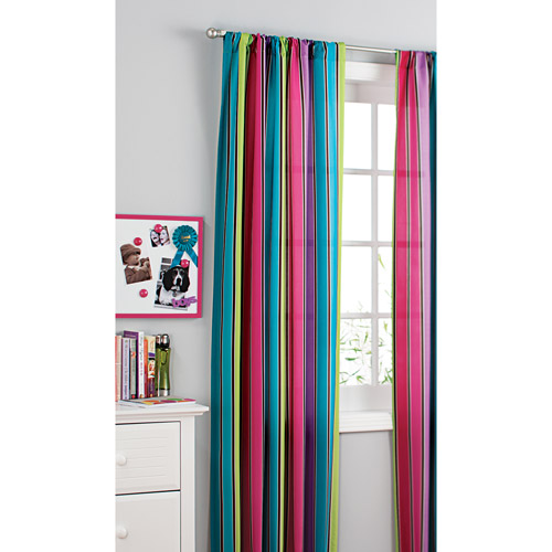 ... Your Zone Printed Microfiber Window Curtains, Pop Stripe, Set Of 2