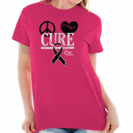 Brisco Brands Peace Love Cure Breast Cancer Lady Short Sleeve T Shirt