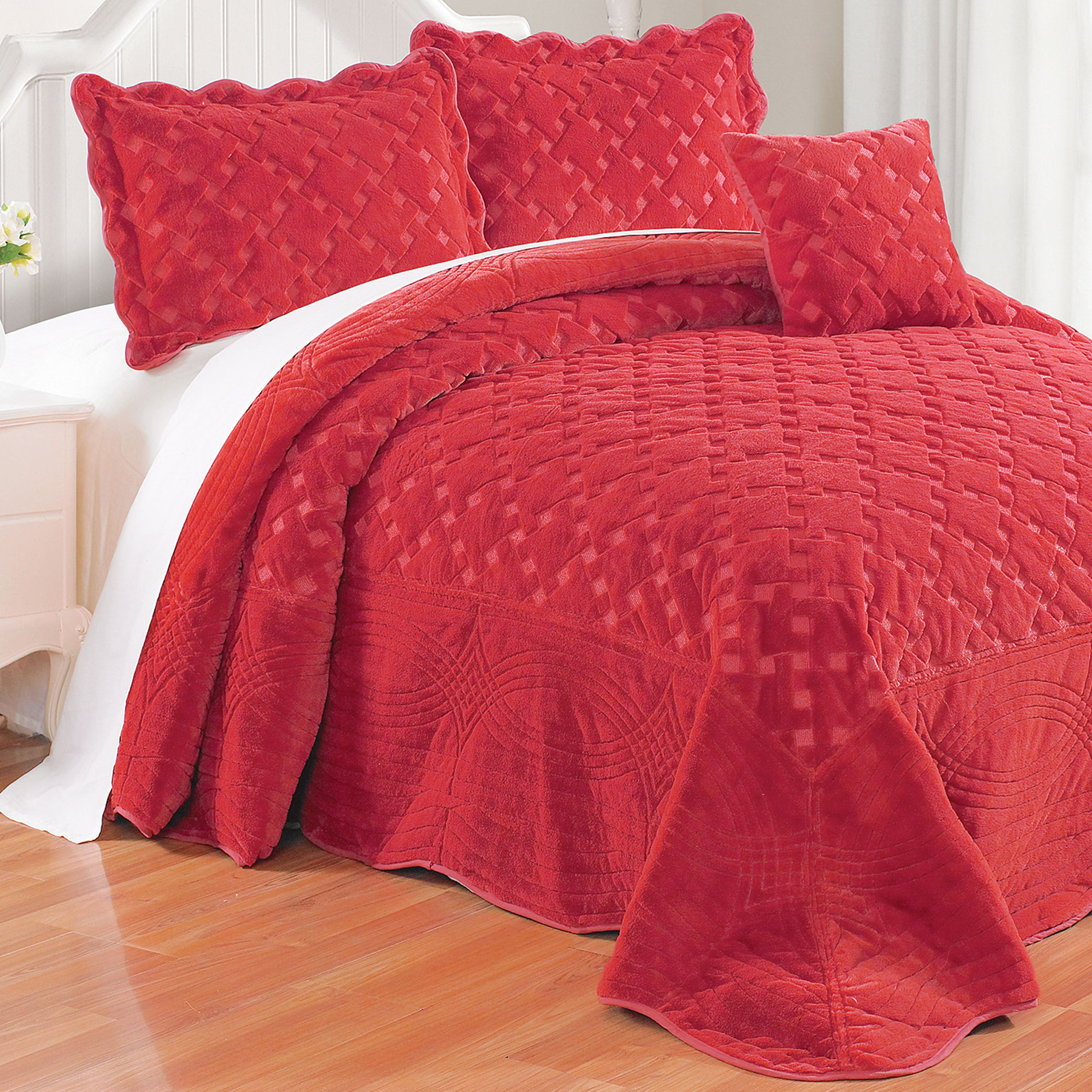 Serenta Tatami Quilted Faux Fur 4 Piece Bedspread Set