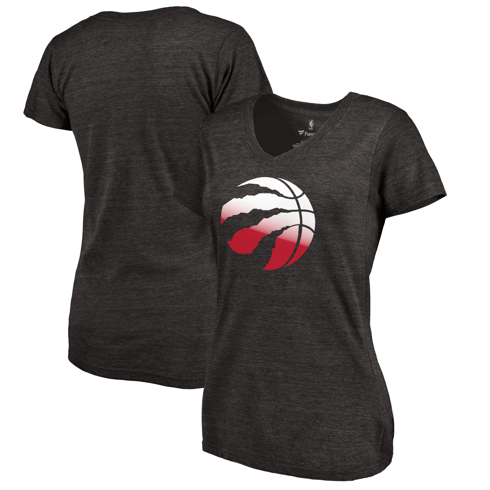 Toronto Raptors Fanatics Branded Women's Gradient Logo Tri-Blend T-Shirt - Black