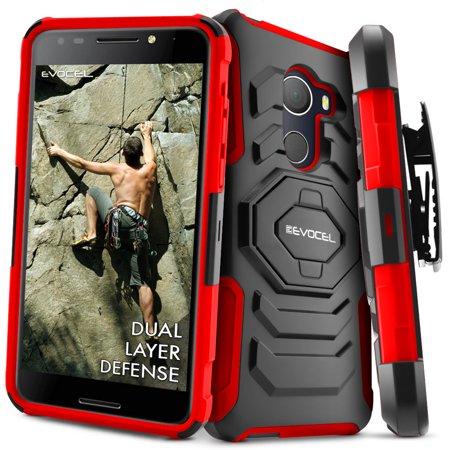 T Mobile Revvl Case  Evocel  New Generation  Rugged Holster Dual Layer Case  Kickstand  Belt Swivel Clip  For T Mobile Revvl  5049W    Alcatel Walters  Red  Evo Alwalters Xx03