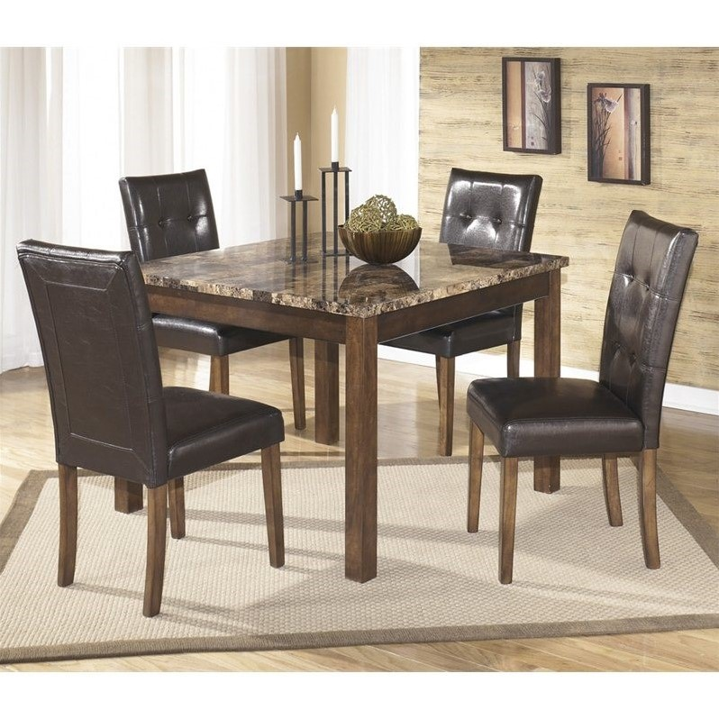 Ashley Furniture Theo 5 Piece Square Dining Table Set in Warm Brown by Ashley Furniture