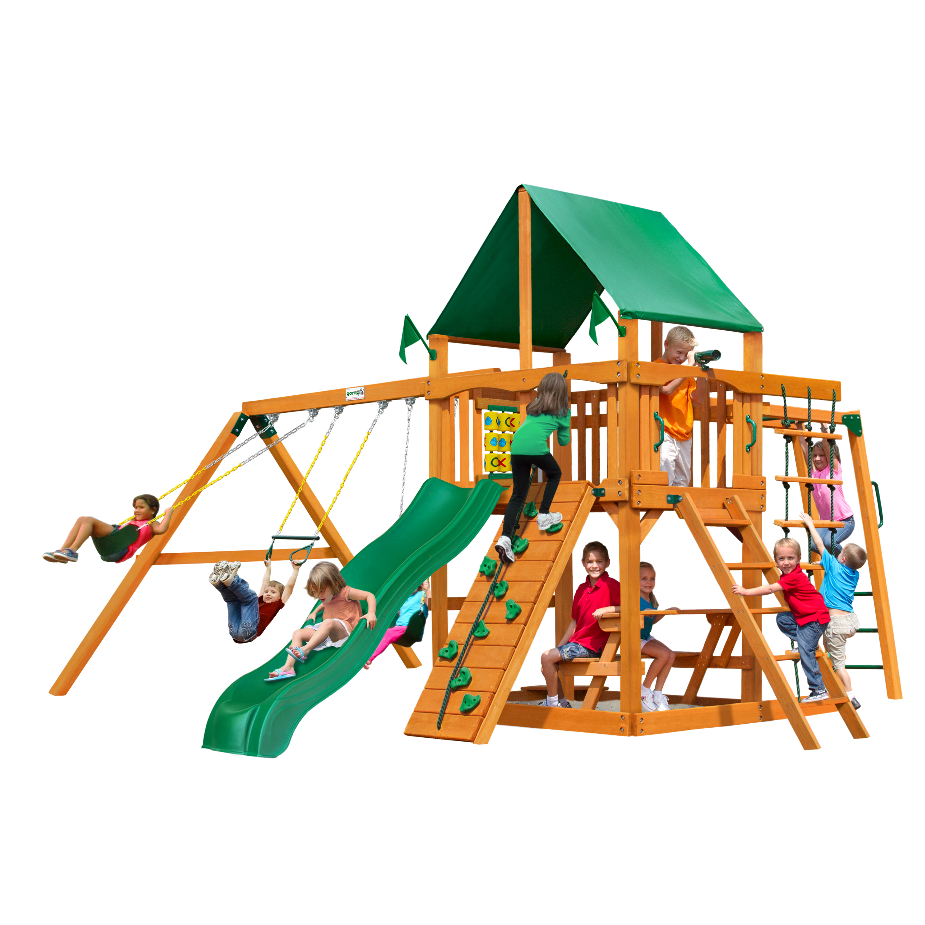 Gorilla Playsets Navigator Swing Set with Natural Cedar Posts and Deluxe Green Vinyl Canopy