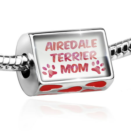 Airedale Dog Charm - Bead Dog & Cat Mom Airedale Terrier Charm Fits All European Bracelets