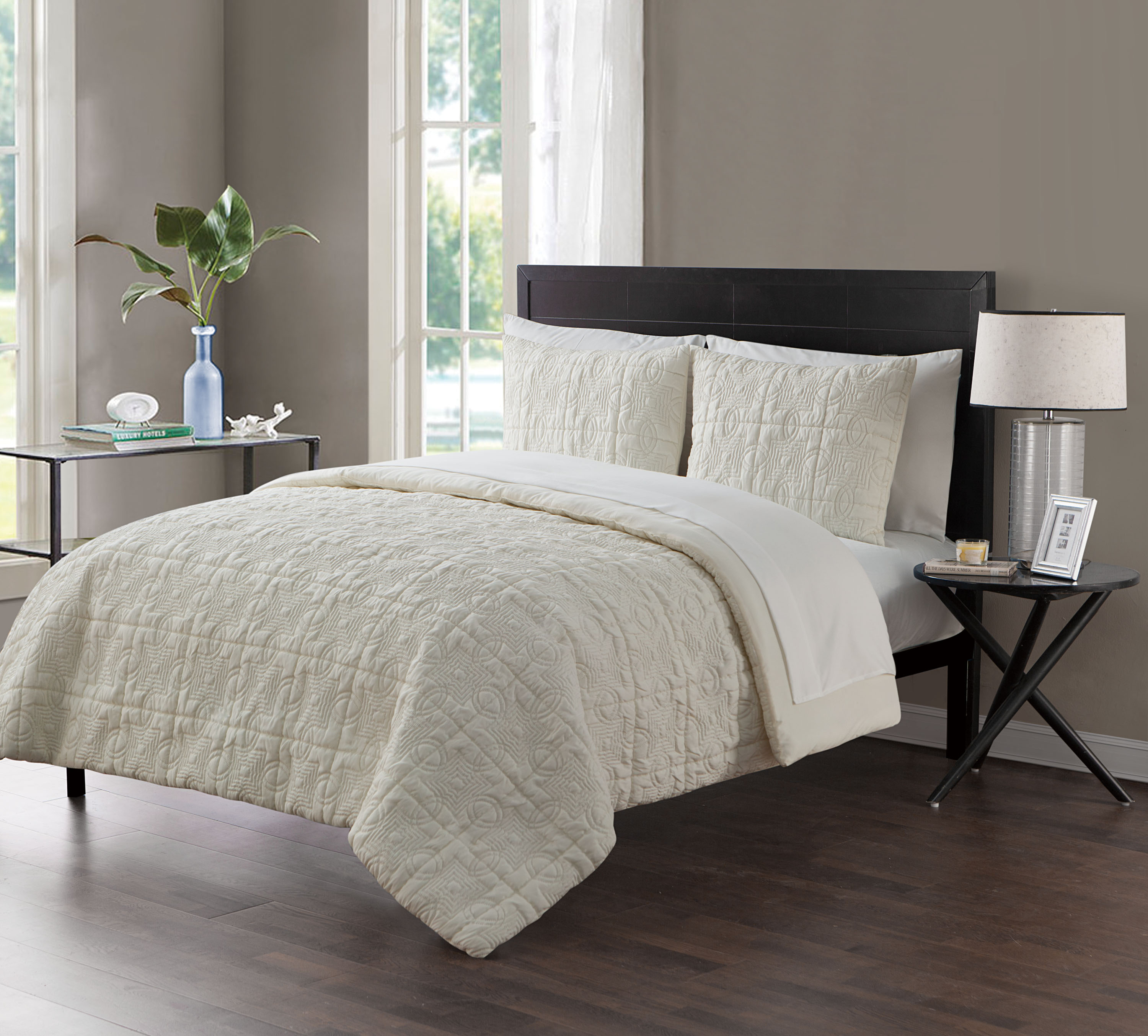 VCNY Home Iron Gate Geometric Embossed Bed in a Bag, Sheet Set Included