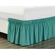 """Wrap Around 18"""" inch Fall Turquoise Blue Ruffled Elastic Solid Bed Skirt Fits All Twin and Full Size Bedding High Thread Count Microfiber Dust Ruffle, Silky Soft & Wrinkle Free."""