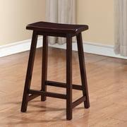Linon Saddle Stool, Dark Brown, 24 inch Seat Height