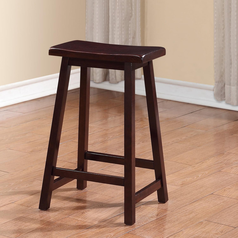 Linon Saddle Stool Dark Brown 24 Inch Seat Height