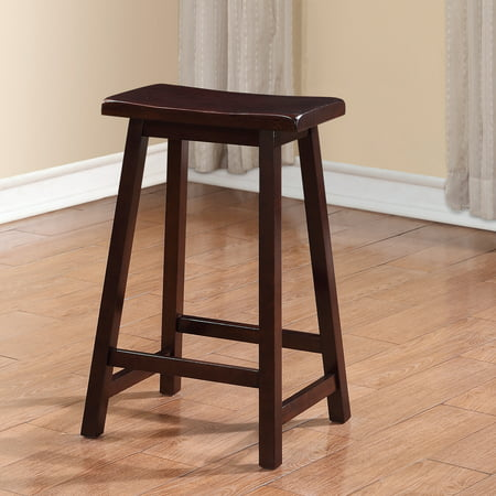 Linon Saddle Stool Dark Brown 24 Inch Seat Height