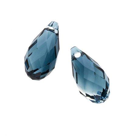 Swarovski Crystal, #6010 Briolette Pendants 13x6.5mm 2 Pieces, Crystal / Montana Blend