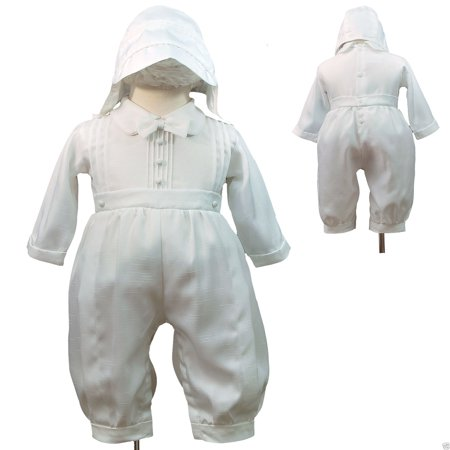 White Rompers + Hat for Baby Toddler Boy Christening Baptism New Born-30M