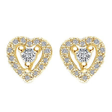 0.36 Carat Round Shape White Natural Diamond Heart Stud Earrings 14k Solid Yellow Gold (Topaz 14k Yellow Gold Slide)