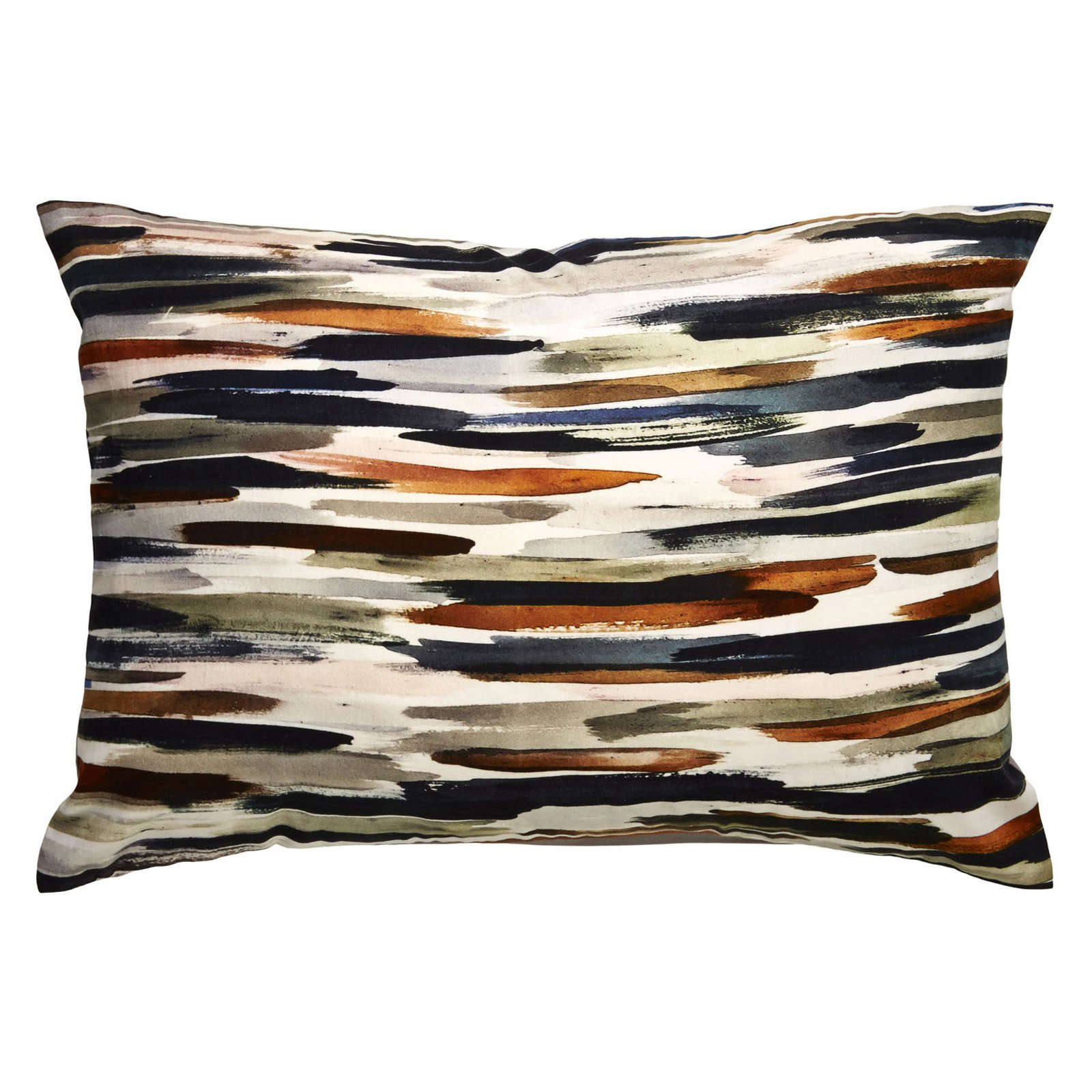Jaipur Watercolor Cotton and Polyester Decorative Pillow - Ivory / Orange